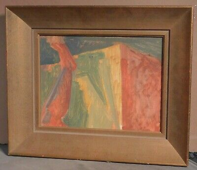 Vintage Modern Abstract Cubist Oil Painting 1960's Picture Frame