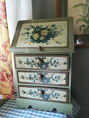 """Vintage Handpainted Green STORAGE CHEST DRAWERS FOLK RUSTIC COUNTRY 14X9X5.5"""""""