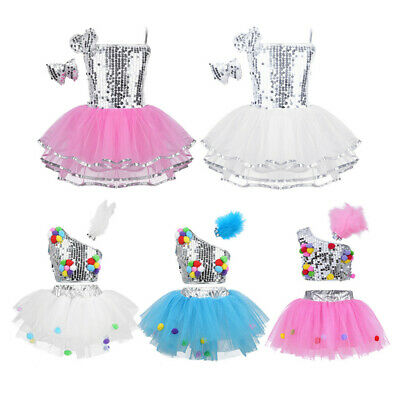 Kids Girls Shiny Sequins Dance Dress Jazz Ballet Performance Dancewear Costumes