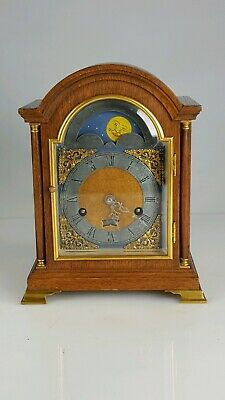 Miniature Oak Moonphase and Date 8 Day Bell German Bracket Clock