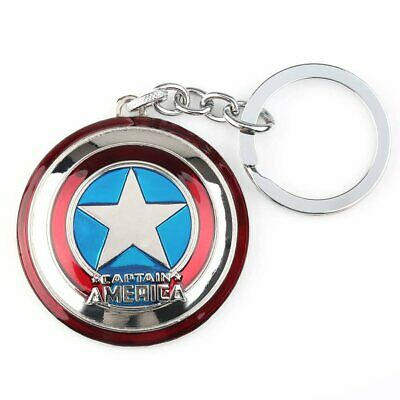 Avengers Captain America Shield Double-sided Whirling Key Ring Chain Metal UK