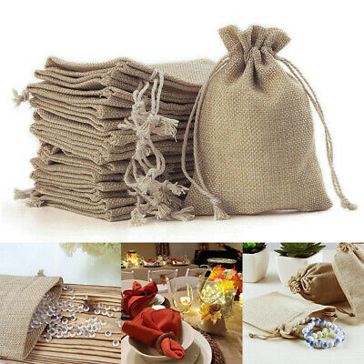 Small Burlap Linen Jute Sack Jewelry Pouch Drawstring Wedding Gift Mini Bags UK