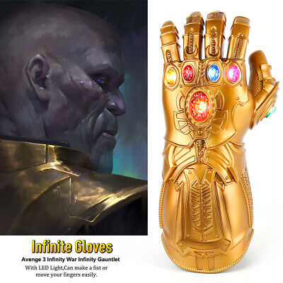 Avengers 4 Infinity War Infinity Gauntlet With LED Cosplay Thanos Gloves Props D