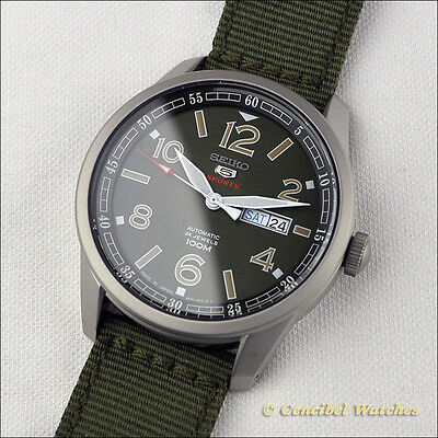 Seiko 5 Sports SRP621J1 Automatic 24 Jewels Made in Japan, green nylon. SRP621