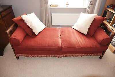 Vintage Oak Day Bed Frame with New Upholstery and Cushions Unfinished Project