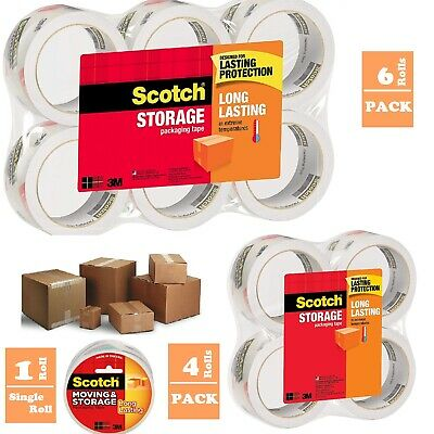 Scotch 3M Storage Packing Tape Heavy Duty Shipping Packaging Adhesive Rolls 55yd