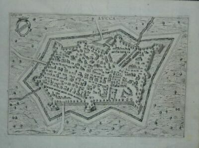 Lucca (Luca ): Copper Plan in Bird`S Eye View 1650 from Scotti Ittinerario