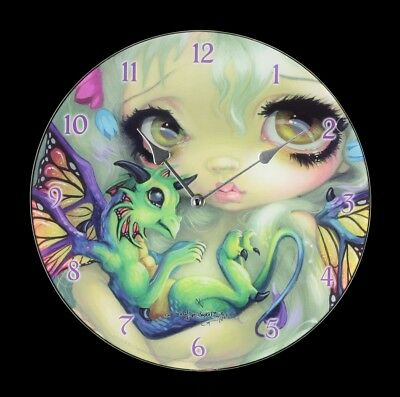 Glass Wall Clock Darling Dragonling Jasmine Becket-Griffith Clock Wall Fantasy