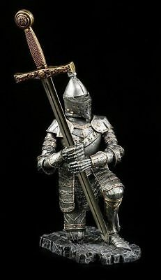 Knight Figurine Kneeling with Letter Opener Decorative Statue Medieval