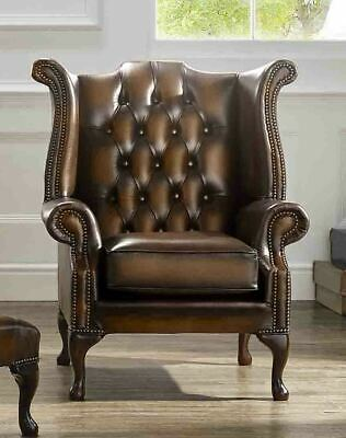 Brand New Chesterfield High back Queen Anne Wing Armchair Real Leather Handmade