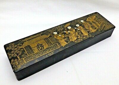 Antique Japanese Black Lacquered Paper Mache Gold Hand Painted Pencil Case