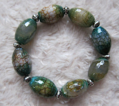 Quality Chunky Faceted Fire Agate Gemstones Bead Bracelets - Unisex.