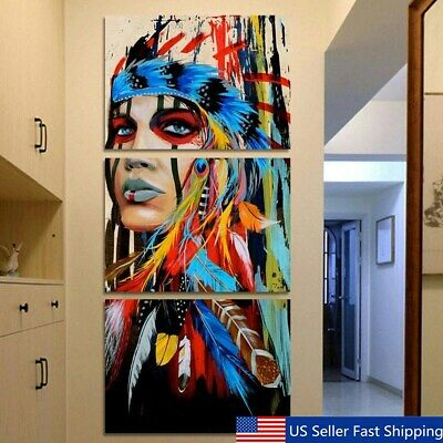 3Pcs Indian Woman Canvas Oil Painting Print Picture Home Wall Art Decor