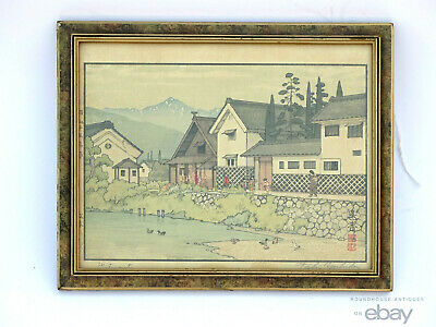 Antique Japanese Toshi Yoshida Woodblock Print Pencil Signed Matsumoto