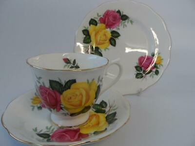 Royal Albert June Delight Tea Trio 1St Quality Yellow And Red Roses
