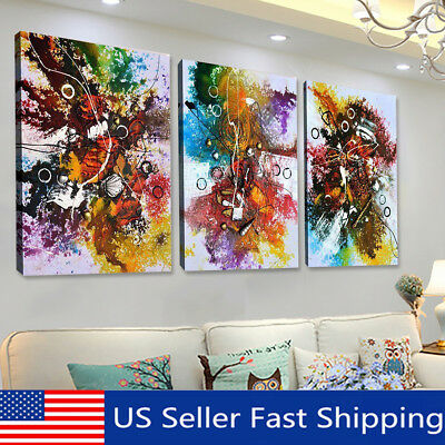 3Pcs Abstract Colorful Canvas Oil Painting Art Print Wall Picture Home Decor CA