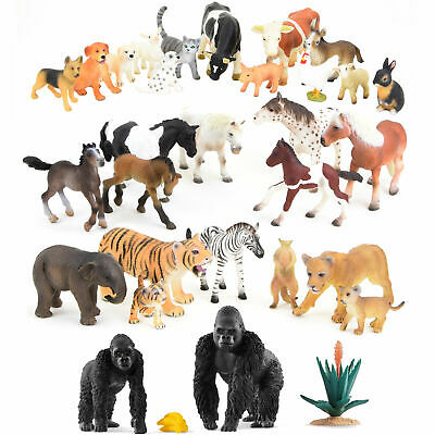 Animal Figurine Game Characters Set Farm Africa Asia Wilderness Horses Bundle