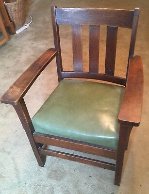 Vintage Mission Oak Arts & Crafts Oversized Cube Chair