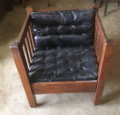 Antique Mission Oak Arts & Crafts Cube Chair (Stickley Design)