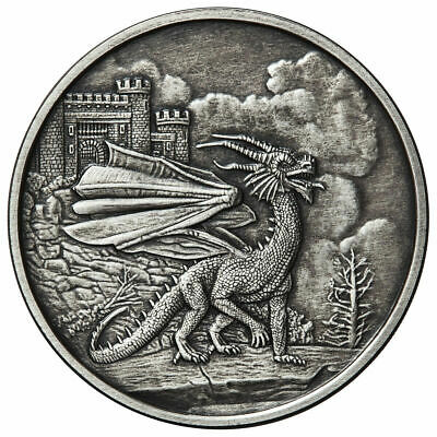Celtic Lore Red Welsh Dragon 1 Oz .999 Silver Antique 2,000 Minted - 12 Pics