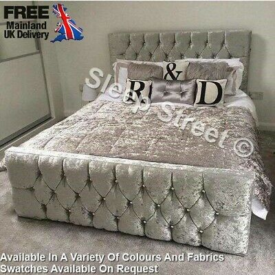 Modern Luxury Stylish Upholstered Chesterfield Style Diamante Florida Design Bed