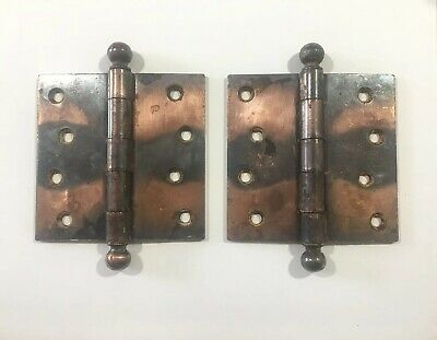 "Vintage Stanley Sweetheart Japanned Copper Flash Ball Tip Door Hinges 4"" X 4"""
