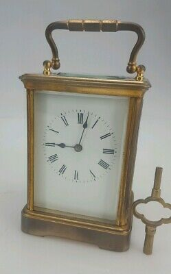 Antique Brass Striking Carriage Clock Large Case R & Co Paris