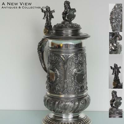 WMF Art Nouveau highly decorated decanter tankard.