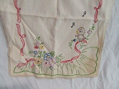Adorable Vintage Hand-Embroidered Table Runner, Singing Bird, Music, Flowers