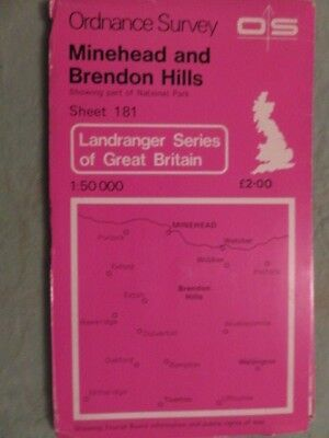 OS Map of MINEHEAD & BRENDON HILLS sheet 181 / 1:50 000 Landranger series
