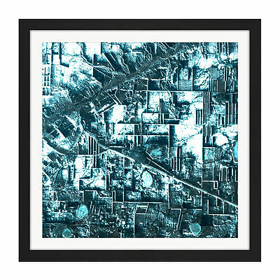Abstract Geometric Grids Square Framed Wall Art 16X16 In