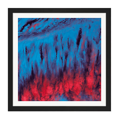 Blue Red Abstract Smoke Clouds Square Framed Wall Art 16X16 In