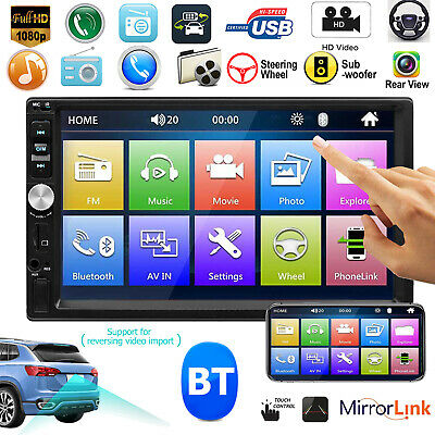 """7"""" HD Touch Screen Double 2DIN Bluetooth Car Stereo MP5 Player FM Radio AUX USB"""