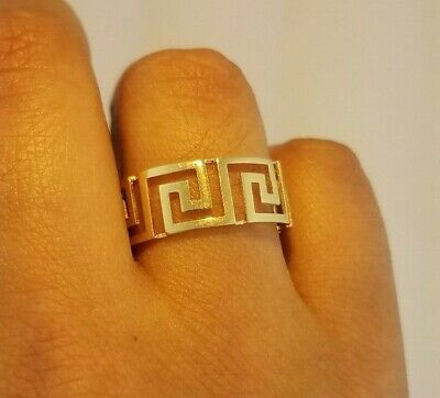 14K Yellow Gold Mens Band Greek Key Statement Ring 8.5 mm Big 3.4 gr sizes 9-13