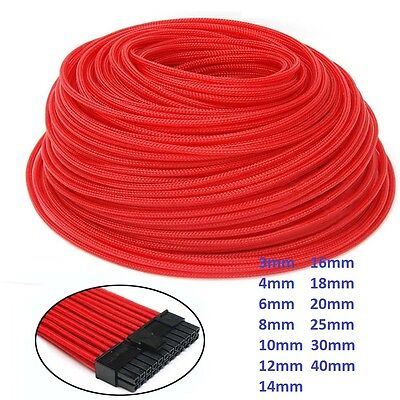 3mm-40mm Expandable Braided Cable Sleeving/Sheathing/Auto Wire Harnessing Red