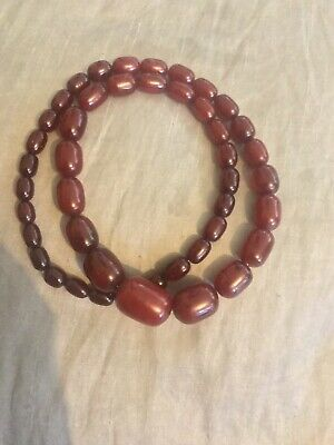 Antique Art Deco Cherry Amber Bakelite Bead Necklace Graduated Beads Weight 93g