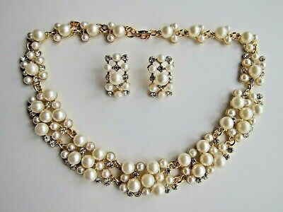 Luxurious Chunky Pearl Rhinestone Statement Necklace & Earrings. White or Multi.