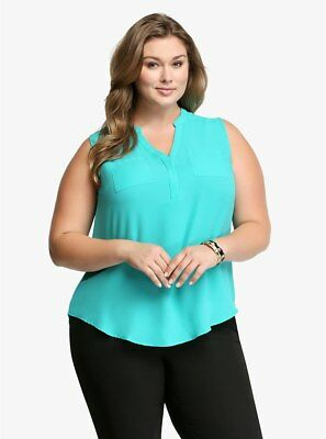 Torrid Womens Blouse Plus 3 3X Double Pocket Popover High Low Turqouise 10384600