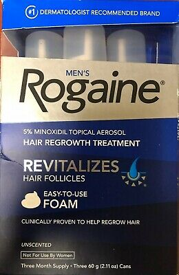 Men's ROGAINE 5% Minoxidil Foam for Hair Regrowth - 3-Month Supply. Exp. 01/2020