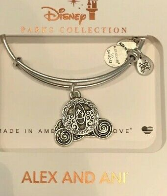 Disney Parks Alex And Ani Cinderella Carriage Silver Bracelet New In Hand