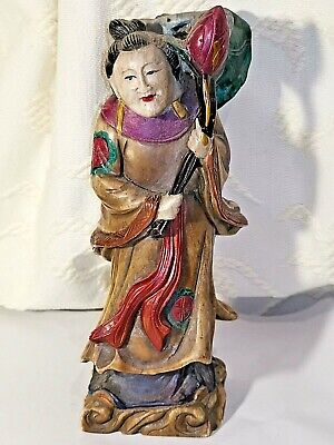 Old Chinese Polychrome Painted Carved Soapstone Immortal Figure Marked  #2