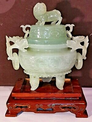 Chinese Vintage Carved Jade Green Censor Vase&Cover W.  Foo Dog And Wooden Stand
