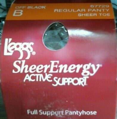 Lot Of 6 Leggs Pantyhose Sheer Energy Active Support Sheer Toe Size B Off Black
