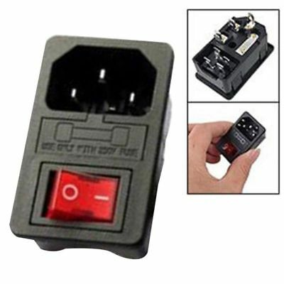 Inlet Male Power Socket with Fuse Switch 10A 250V 3 Pin IEC320 C1 E4T9 LJ