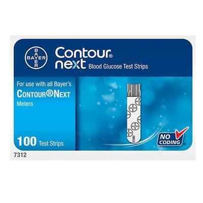 Bayer Contour Next Blood Glucose Test Strips 100-Count 3 Boxes For 300 Strips