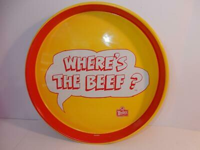 Vintage Wendy's Restaurant Advertising 1984 Where's The Beef Large Metal Tray