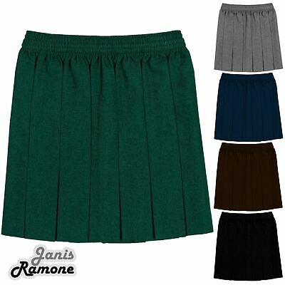 Girls Box Pleated All Round Elasticated Waist Skirt School Uniform Kids Skirt