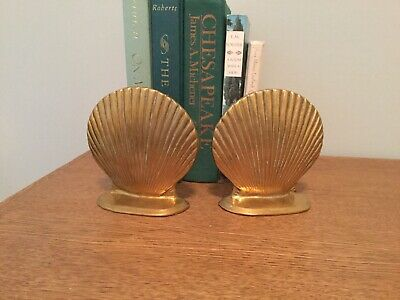 Vintage set of Two Solid brass Seashell Book Ends