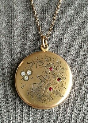 Antique Victorian Edwardian Engraved Gold Filled Paste Rhinestone Locket