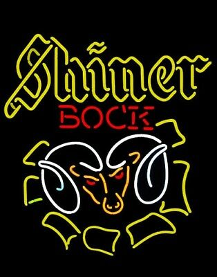 Neon Signs Shiner Bock Ram Beer Bar Pub Party Store Homeroom Wall Decor 24X20